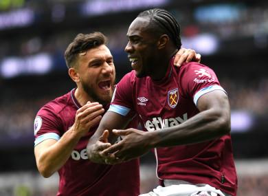 Michail Antonio celebrates against Spurs
