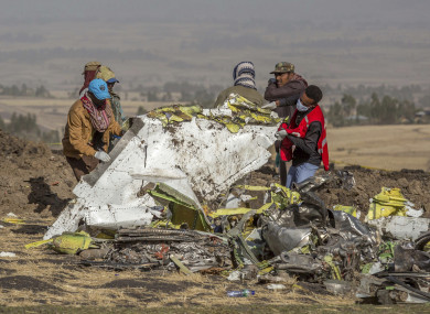 Rescue workers at the crash site.