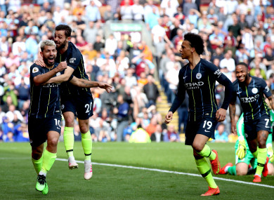 Aguero celebrates giving Man City the lead in the second half.