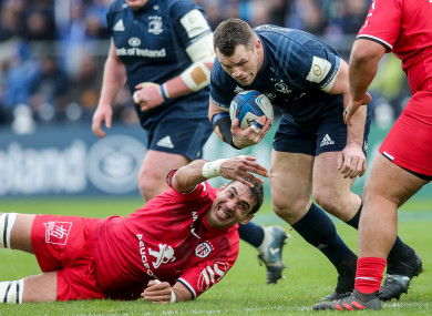 Richie Arnold in action for Toulouse against Leinster's Cian Healy in January.