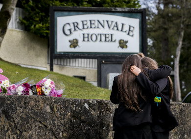 Floral tributes outside The Greenvale Hotel in Cookstown.