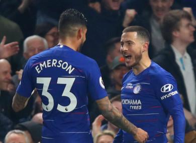 Chelsea's Eden Hazard (R) celebrates scoring against West Ham