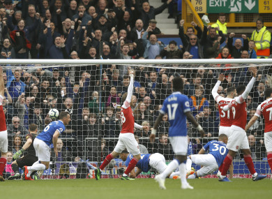 Phil Jagielka scores the winning goal at Goodison Park.