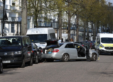 The scene near the Ukrainian Embassy in Holland Park, west London after police fired shots after the ambassador's car was