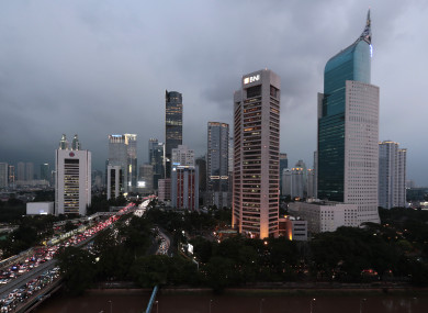 The central business district skyline is seen during the dusk in Jakarta yesterday.