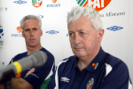 Menton alongside Mick McCarthy during the 2002 World Cup.