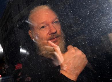 Julian Assange arrives at Westminster Magistrates' Court in London.