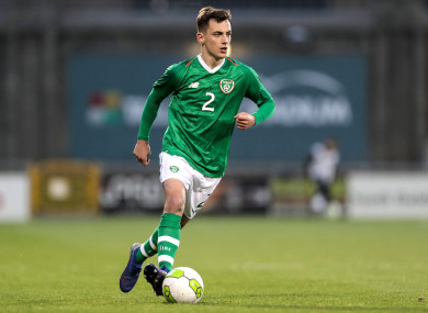 Lee O'Connor on the ball for Stephen Kenny's Ireland U21s last month.