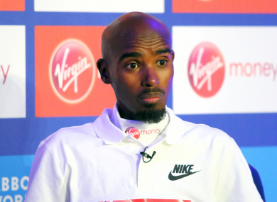 Sir Mo Farah at a press conference for the London Marathon yesterday