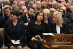 Northern Ireland's political leaders at yesterday's funeral.