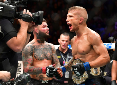 TJ Dillashaw pictured after beating Cody Garbrandt in November 2017.