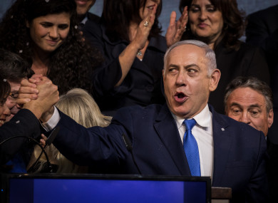 Netanyahu delivers as speech to the Likud party.