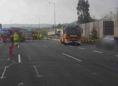 An image of the crash shared by Dublin Fire Brigade.