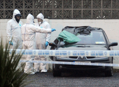 Gardai examining a car at the scene of the fatal shooting in Co Meath in 2013.