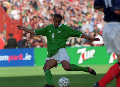 Babb in action against Scotland at the old Lansdowne Road in 2000.