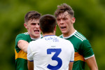 Kerry's Seán O'Shea and David Clifford come into contact with Drew Wylie of Monaghan during last year's championship.