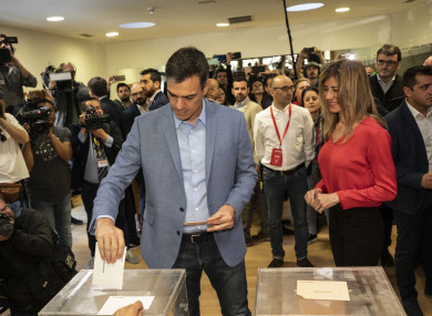 Spanish Prime Minister and Socialist Party candidate Pedro Sanchez casts his vote