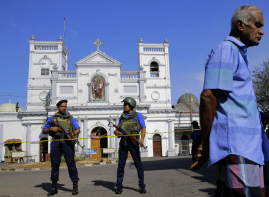St. Anthony's Shrine in Colombo after yesterday's attack.