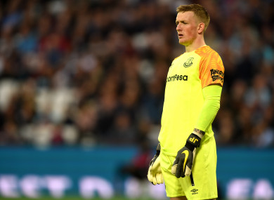 Pickford in action during his side's Premier League meeting with West Ham.