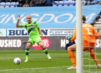 Teemu Pukki scores Norwich's only goal against Wigan this afternoon.