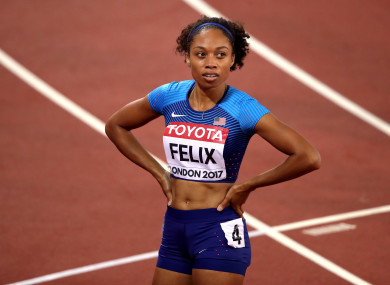 Allyson Felix representing Team USA in the Women's 400m.