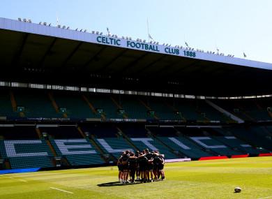 Glasgow huddle during their captain's run at Celtic Park.