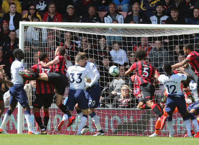 Bournemouth's Nathan Ake (centre right) scores.