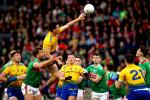 Tadgh O'Rourke of Roscommon rises above Aidan O'Shea.