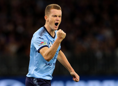 Brandon O'Neill celebrates after scoring in the penalty shootout as Sydney FC defeated Perth Glory in last weekend's A-League Grand Final.