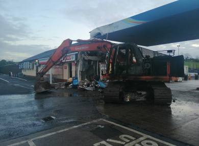 File photo of a digger next to a filling stations in Fermanagh where an ATM was stolen last month.