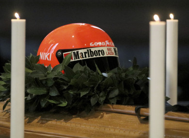 Lauda's helmet sits on top of his coffin in Vienna's St Stephen's Cathedral.