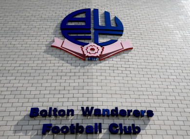 Bolton Wanderers' crest, on the wall of the University of Bolton Stadium.