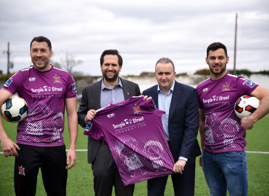 Dundalk captain Brian Gartland, chairman Mike Treacy, Fyffes managing director Gerry Cunningham and striker Patrick Hoban with their third jersey, which is sponsored by Temple Street Children's Hospital.