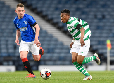 Dembele facing Ciaran Dickson of Rangers in the Scottish FA Youth Cup final.