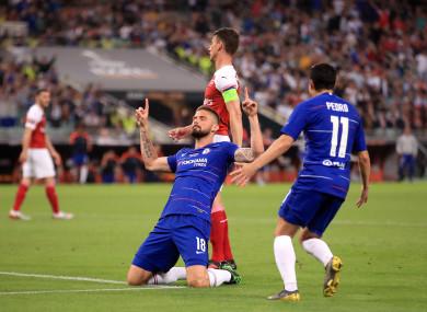 Chelsea's Olivier Giroud celebrates scoring.