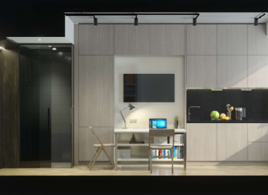 CGI image of the interior of the bedroom living space