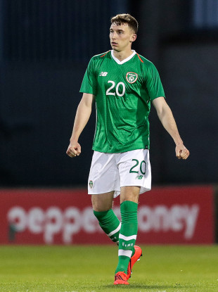 Conor Masterson pictured playing for Ireland U21s earlier this year.