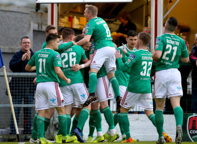 Conor McCormack leads the celebrations after Karl Sheppard's opening goal for Cork City against UCD.