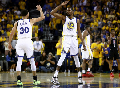 Warriors team-mates Stephen Curry and Kevin Durant.