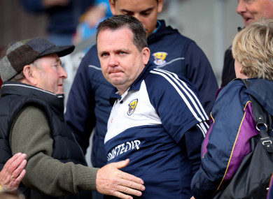 Davy Fitzgerald in the stand after being sent off.