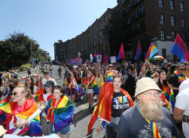 Participants in Dublin's 2018 pride parade