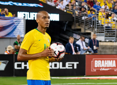 Liverpool midfielder Fabinho on international duty last year.