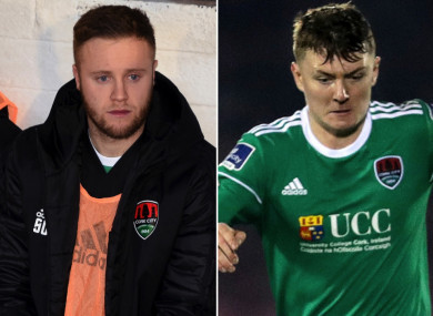 Cork City's Kevin O'Connor and James Tilley.
