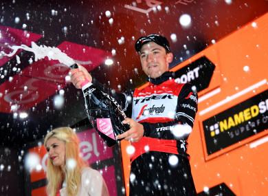 Champagne showers: Giulio Ciccone celebrates.