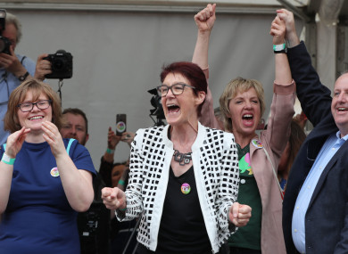 Ailbhe Smyth (centre) celebrates at Dublin Castle as the results are announced in the referendum on the 8th Amendment