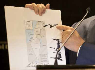 The map sent by Trump to Netanyahu.