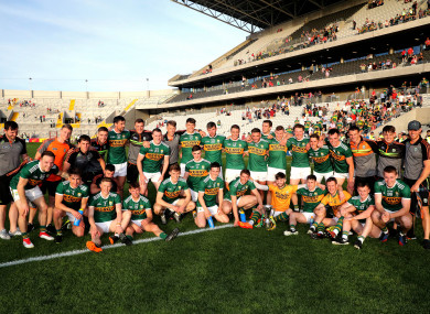 The victorious Kerry team after the 2018 Munster SFC final.
