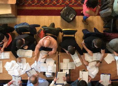 Counting in the local government elections begins at Belfast City Hall.