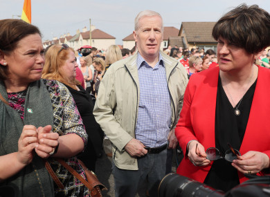 Sinn Fein leader Mary Lou McDonald with DUP leader Arlene Foster at a vigil in Derry following the death of journalist Lyra McKee.