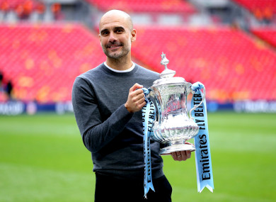 Guardiola celebrated further success at Wembley on Saturday.